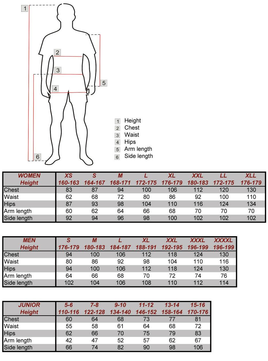 Silvini apģērbu izmēru tabula