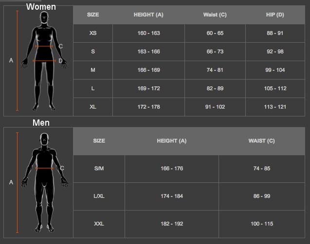x-bionic apģērbu izmēru tabula