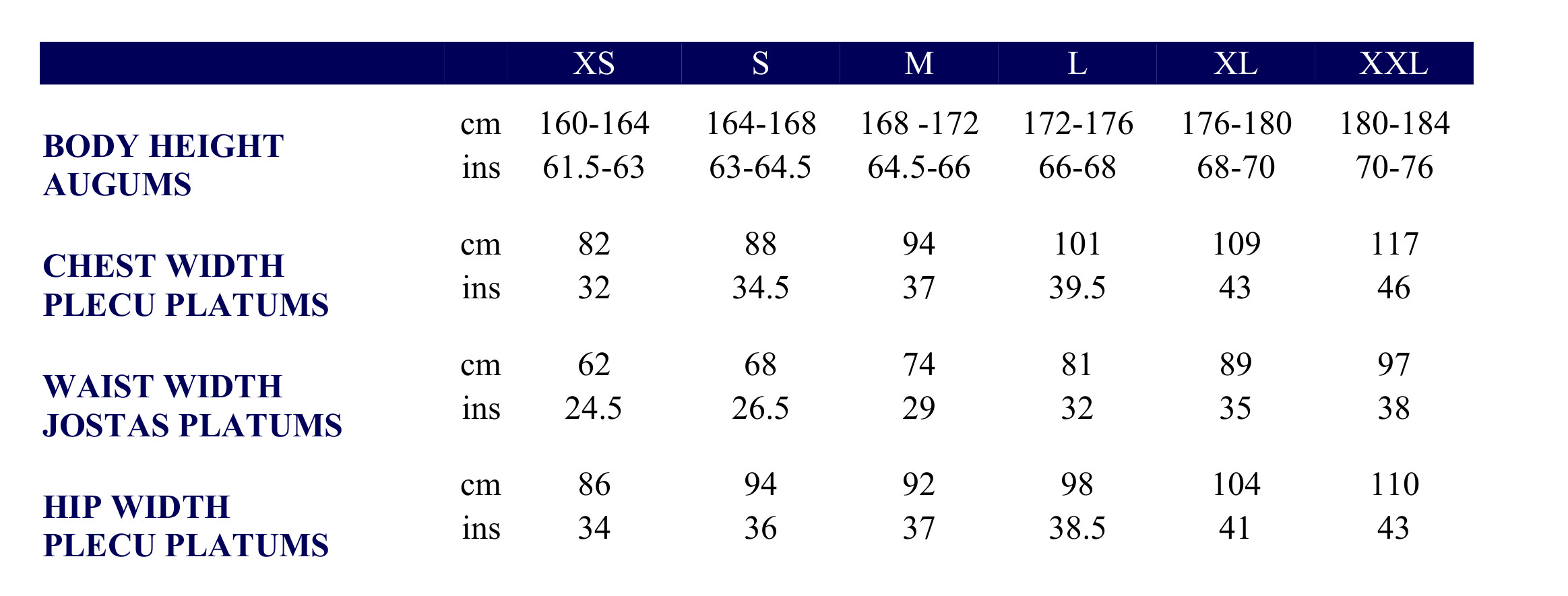 Asics Women's clothing size chart