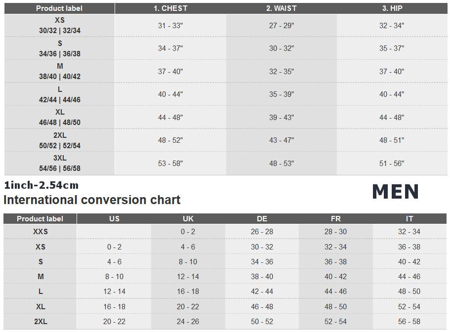 Adidas vīriešu apģērbu izmēru tabula