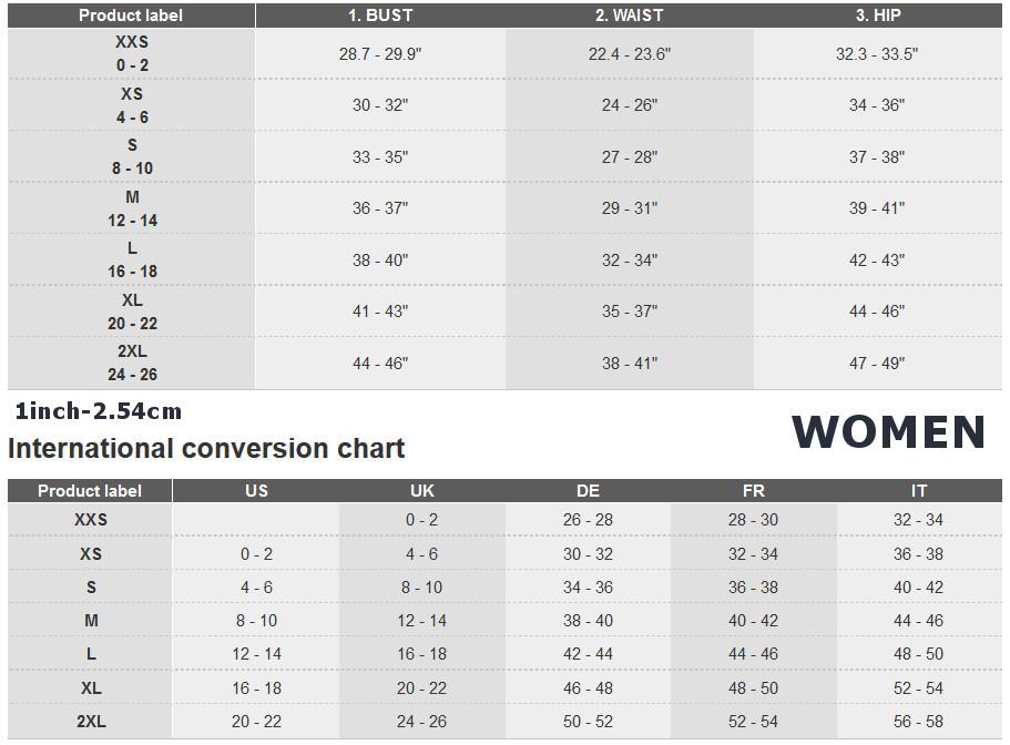 Adidas apparel size chart women