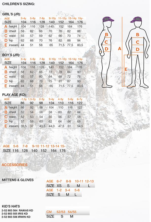 Icepeak bērnu izmēru tabula