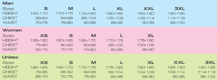 KV+ apparel size chart