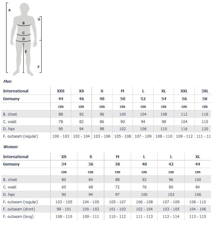 Loffler apparel size chart