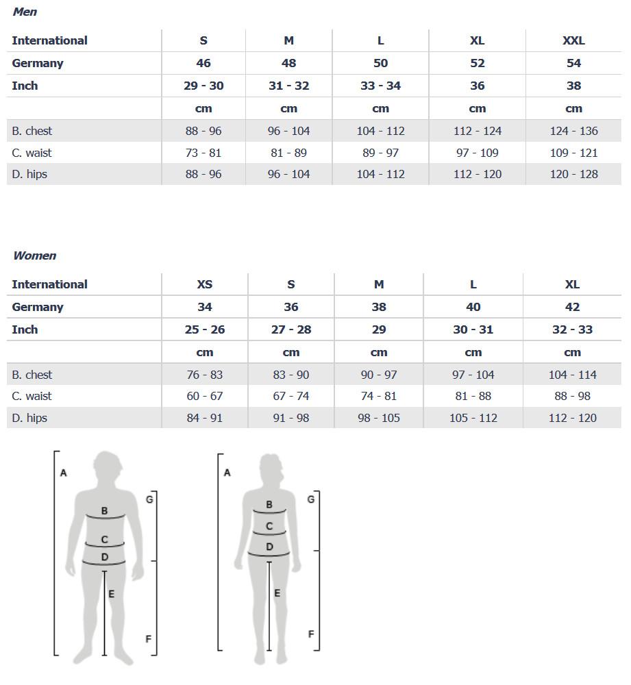 Nike apparel size chart