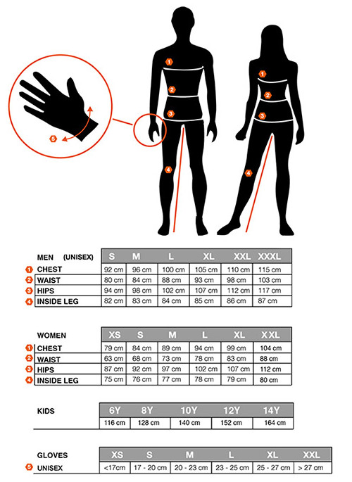 Sportful apparel size chart